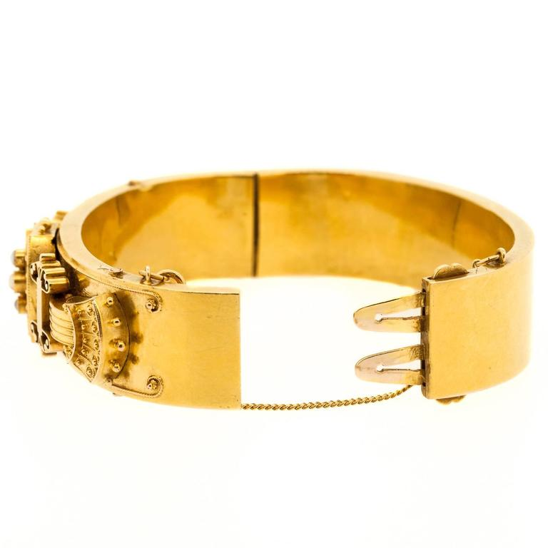 Victorian Pearl Gold Bangle Bracelet In Excellent Condition For Sale In Beverly Hills, CA