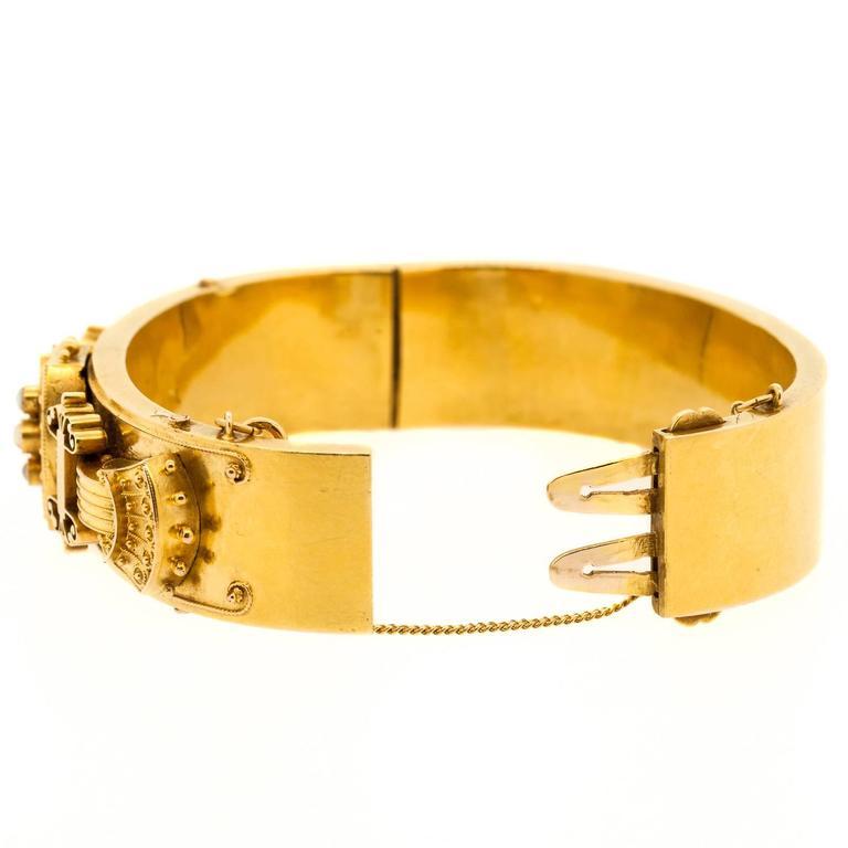 Victorian Pearl Gold Bangle Bracelet 3