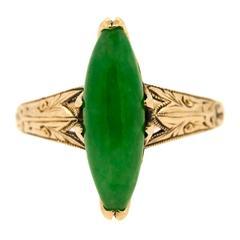 1920s Retro Antique Jadeite & Engraved Gold Ring