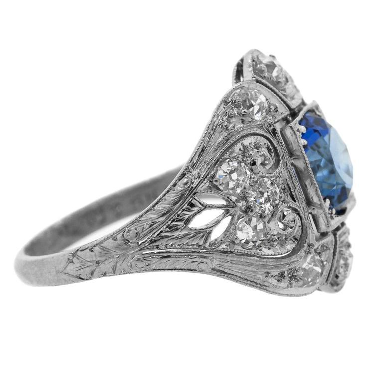 1930's Antique Ceylon Sapphire & Diamond Ring 3
