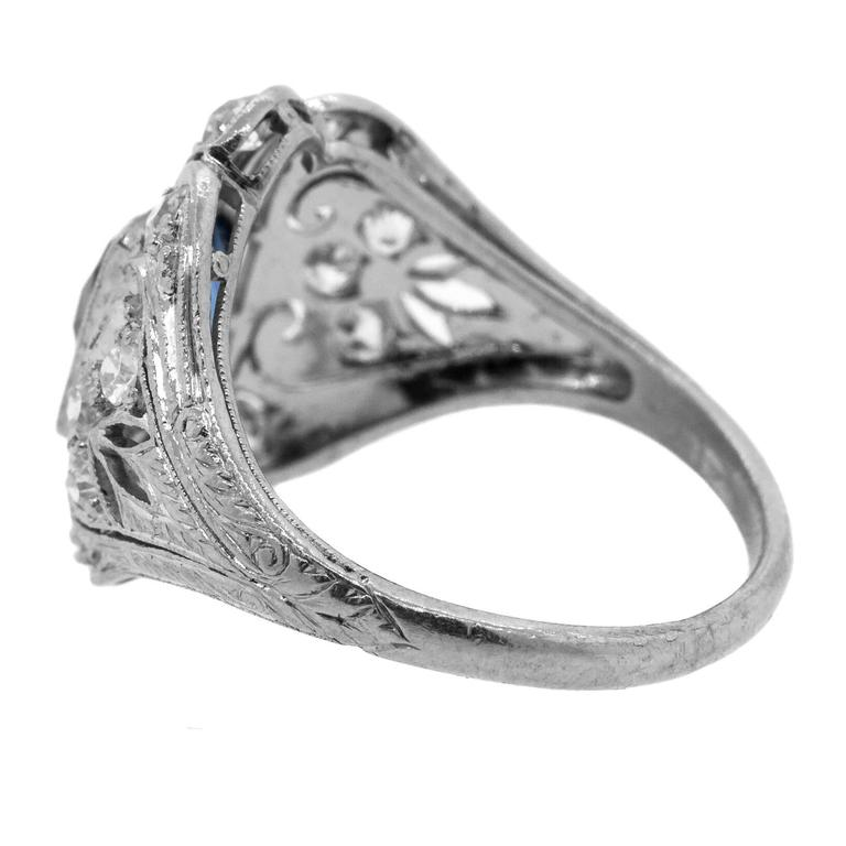 1930's Antique Ceylon Sapphire & Diamond Ring 4