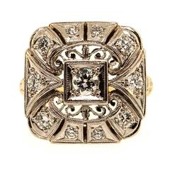1940s Diamond Palladium Ring