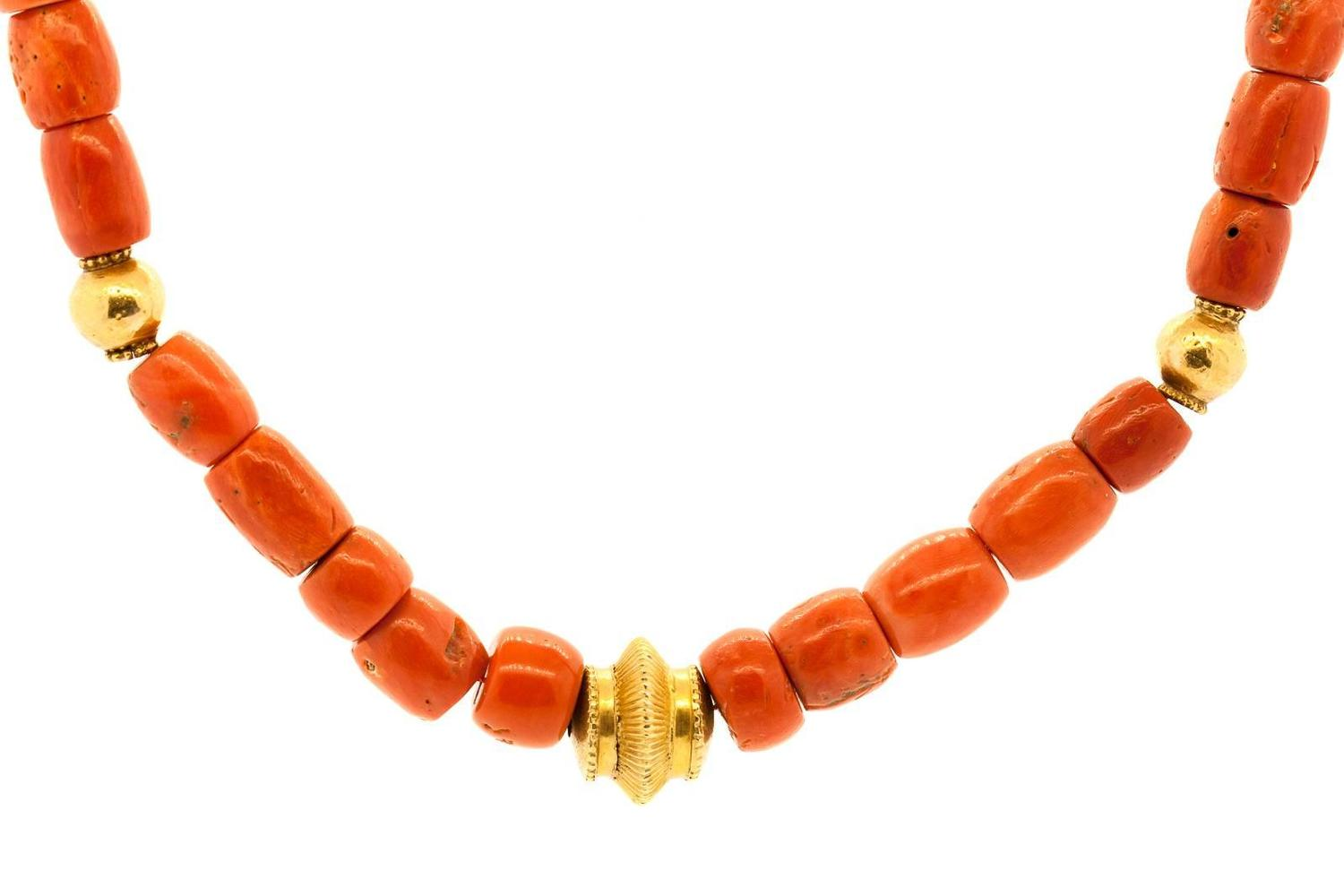 tibetan coral gold bead necklace for sale at 1stdibs