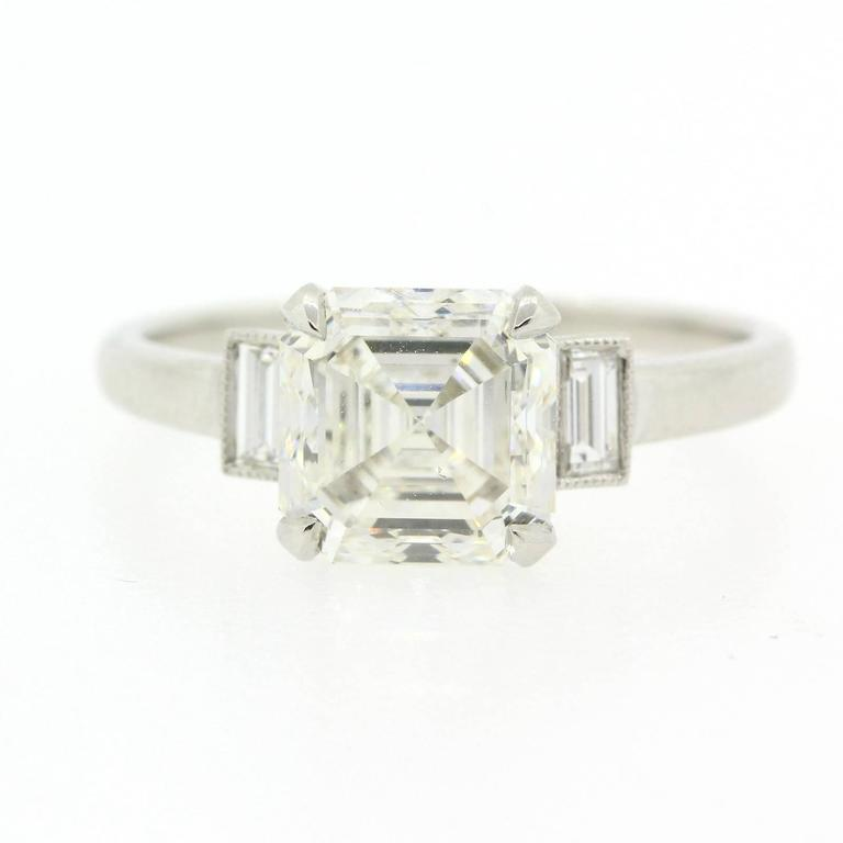Claude Morady GIA Cert Square Emerald Cut Diamond Platinum Engagement Ring at