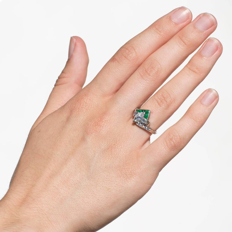 Modern Vintage Marquise Diamond Emerald Ring For Sale
