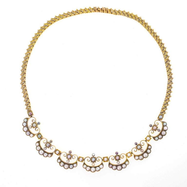 Natural Pearl Victorian Gold Necklace