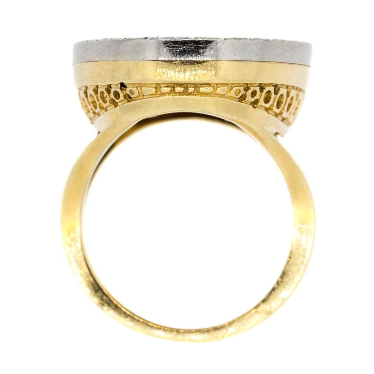 Modern Vintage Oval Onyx and Diamond Gold Ring For Sale