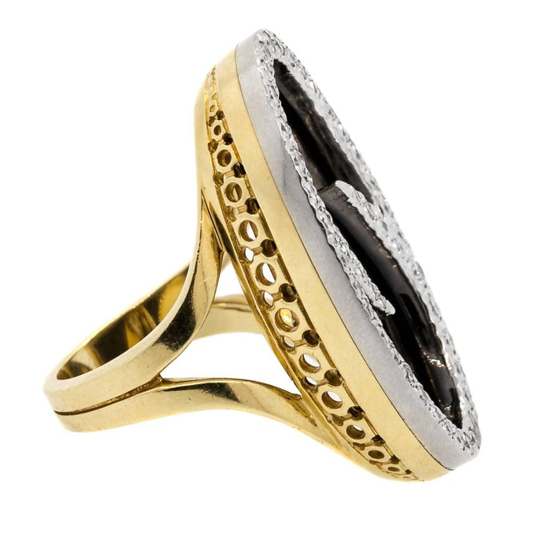 Oval Cut Vintage Oval Onyx and Diamond Gold Ring For Sale