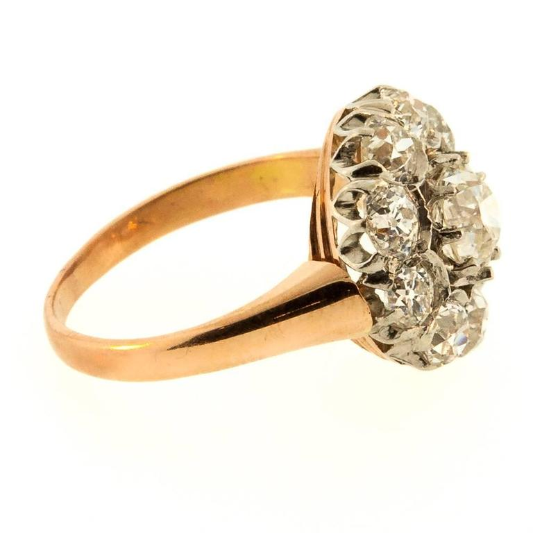 Art Deco 1930s Cluster Antique Old European Cut Diamonds Gold Ring For Sale