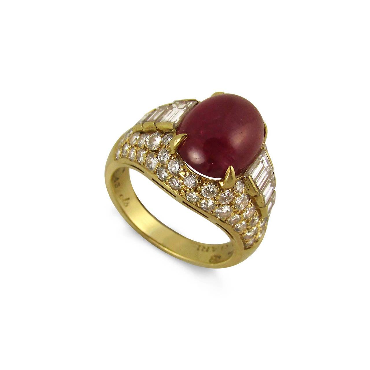 bulgari cabochon ruby diamond gold ring 2