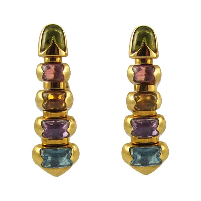 Bulgari Celtica Cabochon Semi Precious And Gold Earrings
