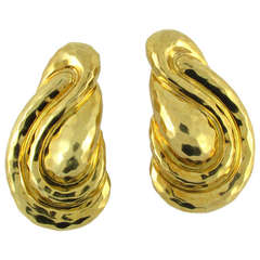 Henry Dunay Large Hammered Yellow Gold Earrings
