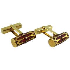 Tiffany & Co. Red Enamel Gold Cufflinks