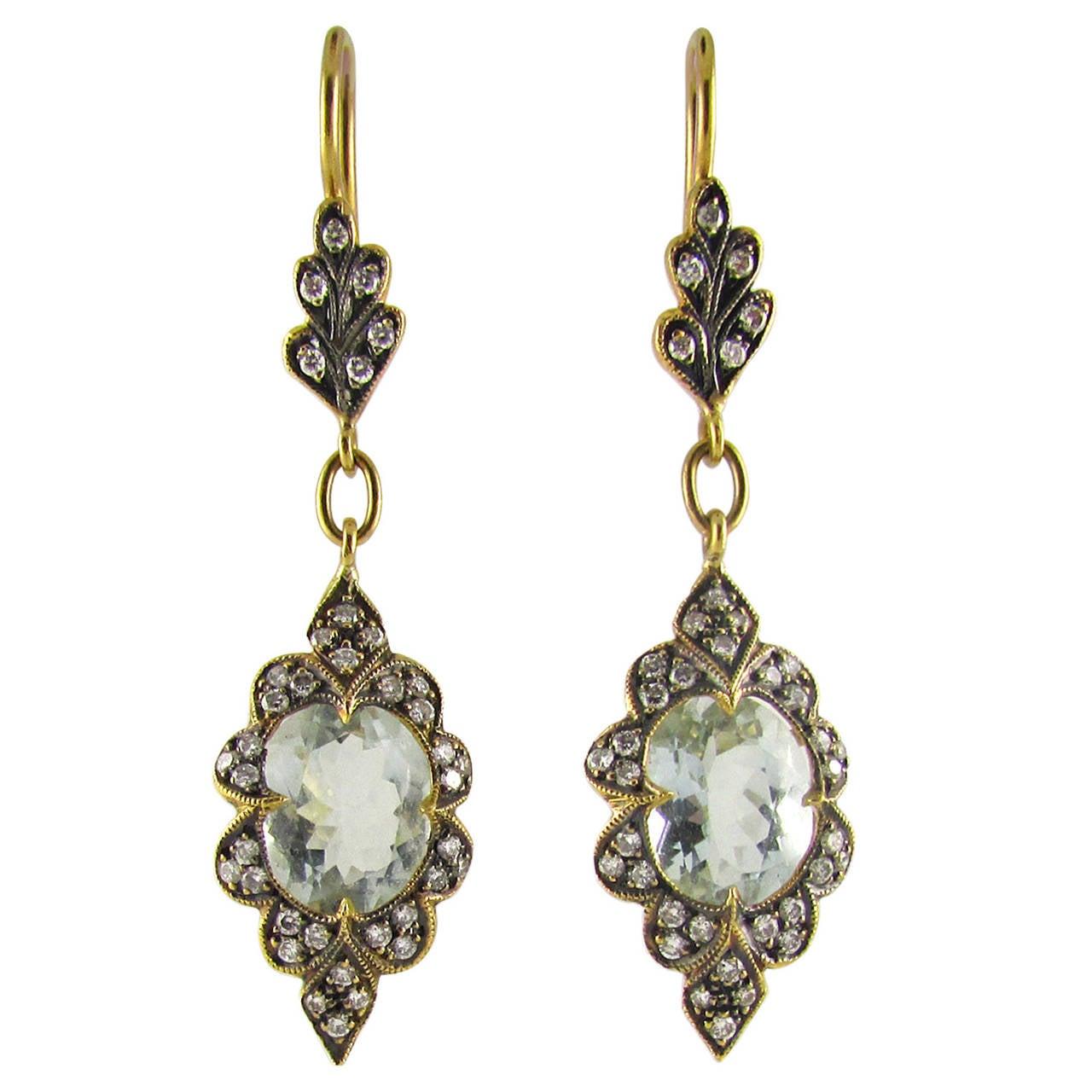 cathy waterman aquamarine gold dangle earrings at