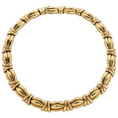 Henry Dunay Hammered Gold Link Necklace