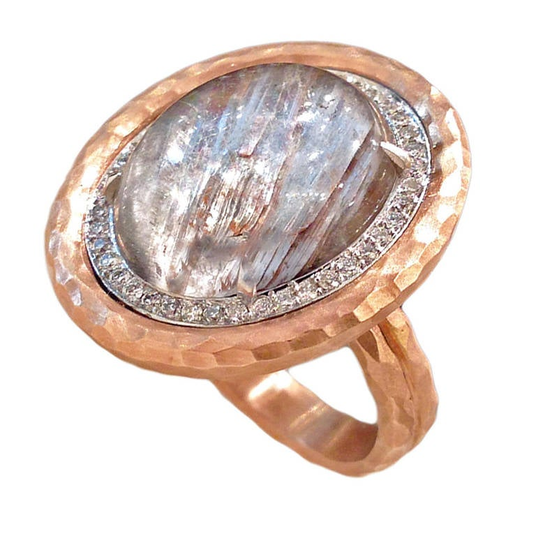 Platinum Rutilated Quartz Diamond Gold Crushed Frame Ring at 1stdibs