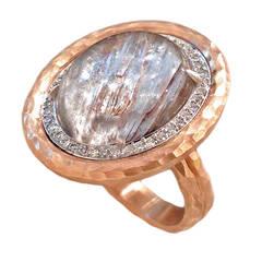Platinum Rutilated Quartz Diamond Gold Crushed Frame Ring