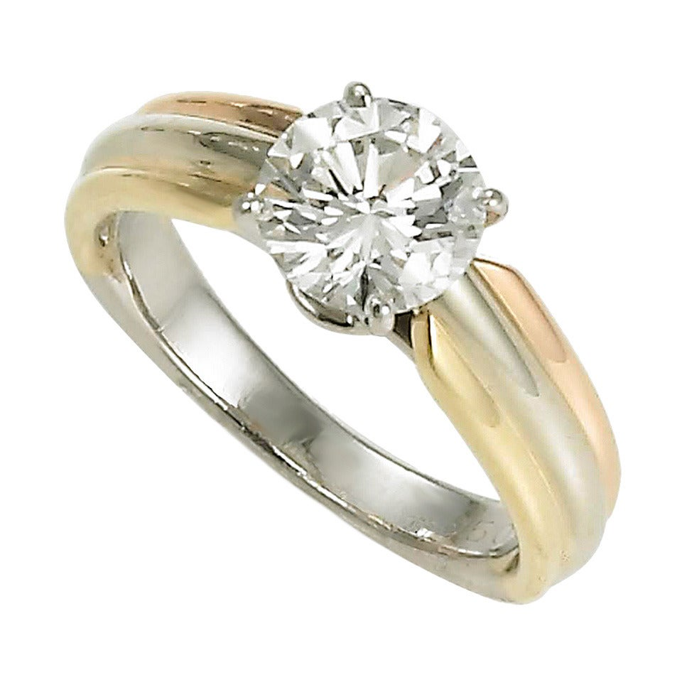 Cartier Solitaire Diamond Tricolor Gold RIng at 1stdibs