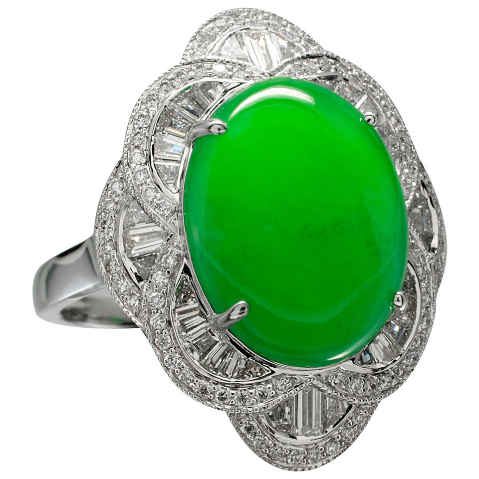 Fine Jadeite Diamond Gold Cocktail Ring At 1stdibs
