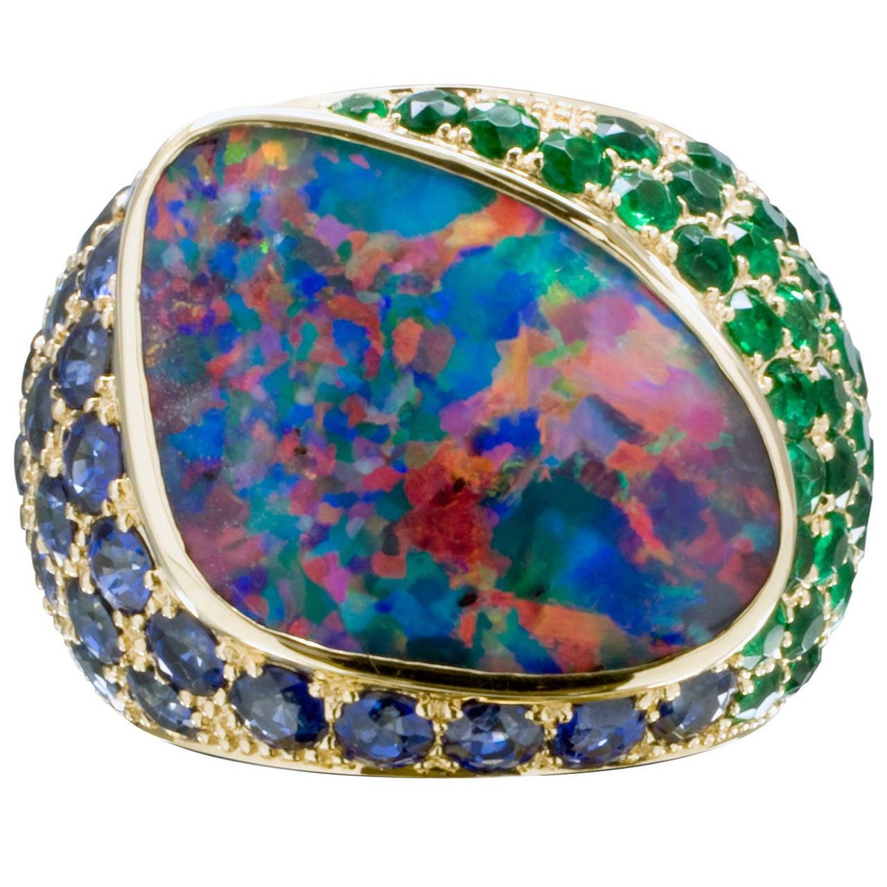 spectacular boulder opal emerald sapphire gold cocktail