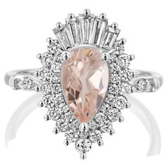 1 3/4 Carat Pear Morganite Gatsby Style 14 Karat White Gold Engagement Ring