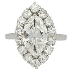 French Marquise Diamond Gold Platinum Cluster Ring