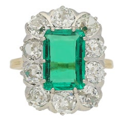 Chaumet Paris Natural Colombian Emerald Diamond Cluster Ring