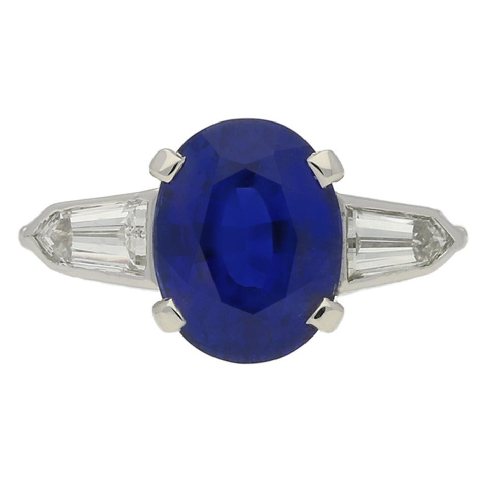 3.75 Cts Unenhanced Royal Blue Burmese Sapphire and Diamond Ring