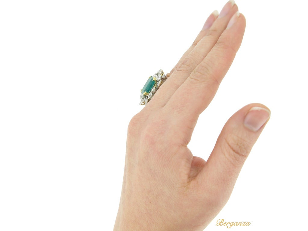 French Emerald Diamond Gold Platinum Cluster Ring circa 1950 6