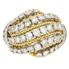 Van Cleef & Arpels Diamond Gold Cocktail Ring circa 1960