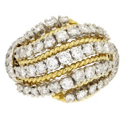 Van Cleef & Arpels Diamond Gold Cocktail Ring circa 1960