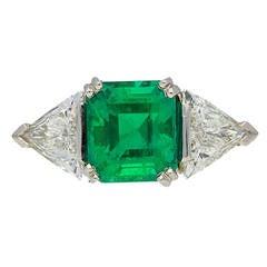2.51 Carat Unenhanced Muzo Emerald Diamond Ring, circa 1950