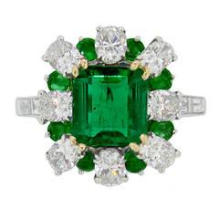 2.22 Carat French Unenhanced Muzo Emerald Diamond Cluster Ring Circa 1960