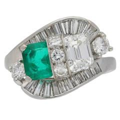 Natural 1.10 Carat Colombian Emerald Diamond Crossover Ballerina Ring