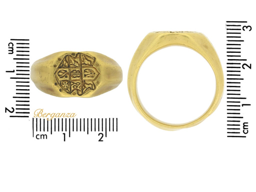 Museum Quality Medieval Gold Seal Ring circa 15th Century 6