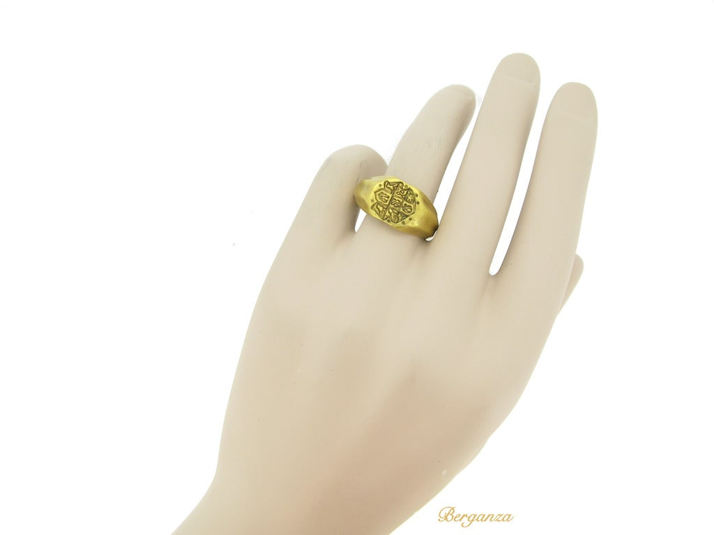Museum Quality Medieval Gold Seal Ring circa 15th Century 7