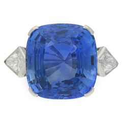 20.13 Carats Natural Unenhanced Ceylon Sapphire Diamond Platinum Ring