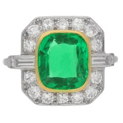 Natural Colombian Emerald Diamond Platinum Cluster Ring