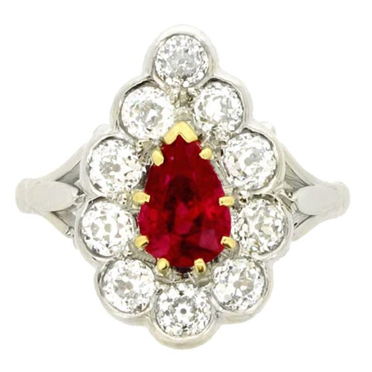 Burmese Ruby Diamond Platinum Cluster Ring