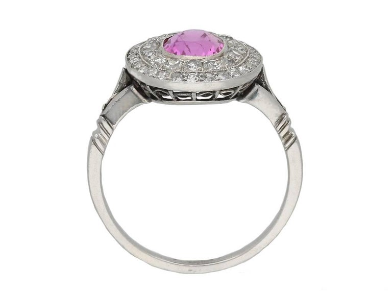 Edwardian Natural Pink Sapphire Double Row Coronet Cluster Ring 3