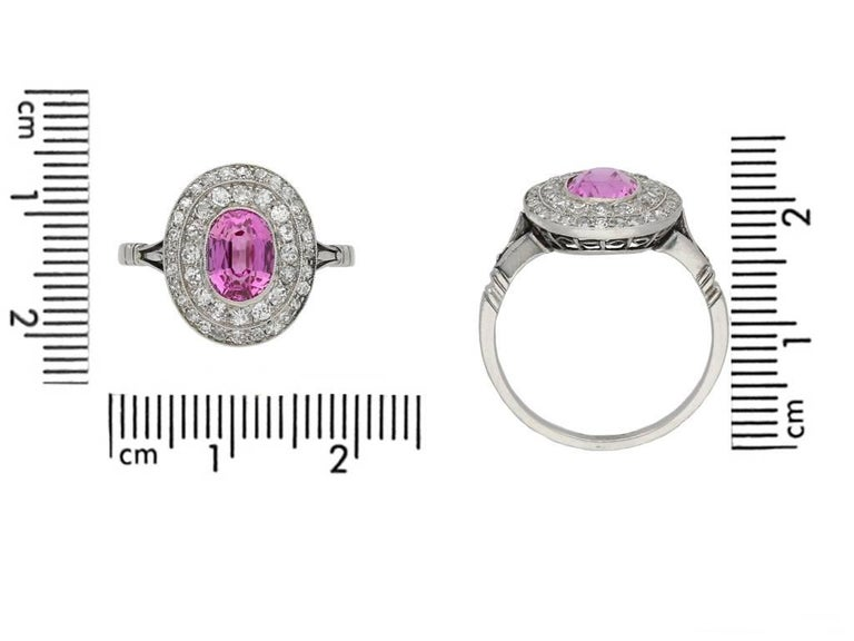 Women's or Men's Edwardian Natural Pink Sapphire Double Row Coronet Cluster Ring For Sale