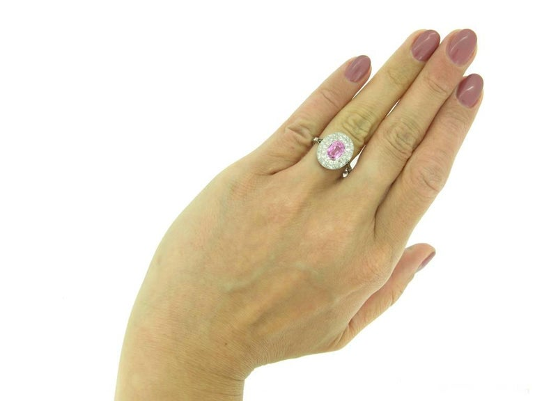 Edwardian Natural Pink Sapphire Double Row Coronet Cluster Ring For Sale 1