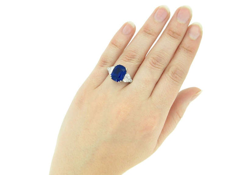 7.23Ct Unenhanced Royal Blue Burmese sapphire and diamond ring, circa 1960s. 4