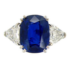 7.23Ct Unenhanced Royal Blue Burmese sapphire and diamond ring, circa 1960s.