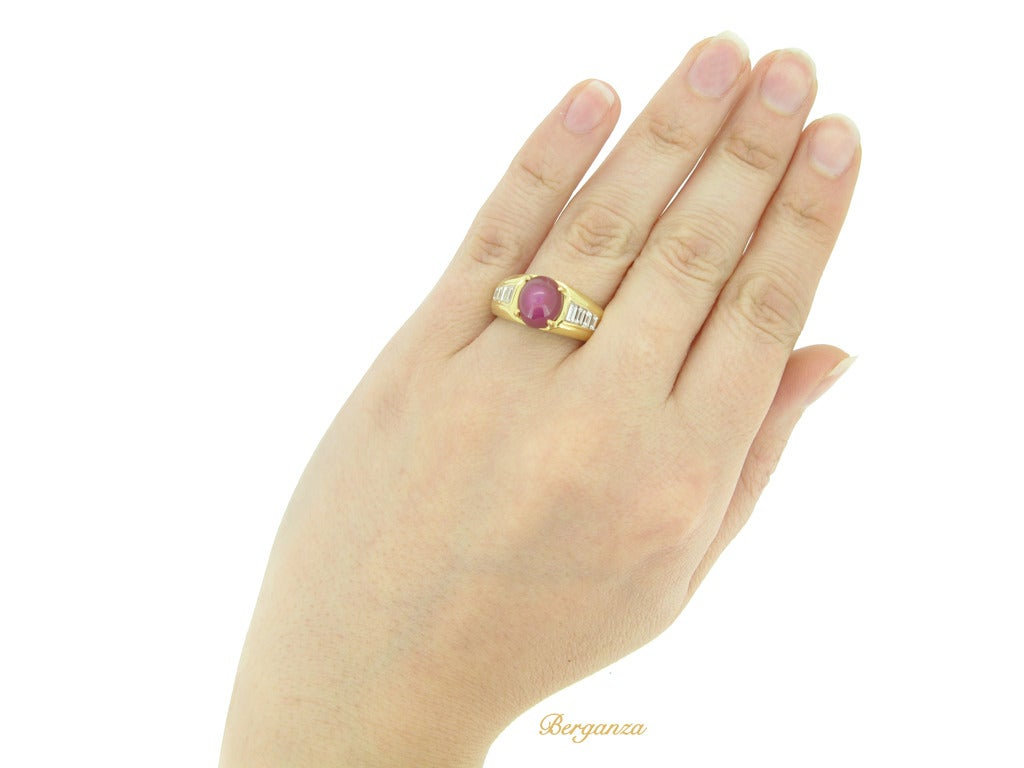 Van Cleef & Arpels Burmese unenhanced star ruby diamond Gold Ring For Sale 1