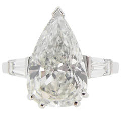1950s 5.01 Carat Drop shape diamond Platinum Engagement Ring