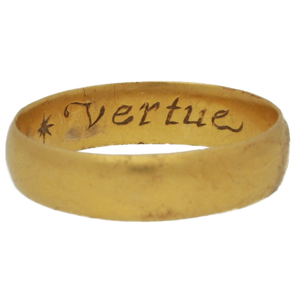 "17th Century Stuart gold posy Band ring ""Vertue passeth riches"" 1"