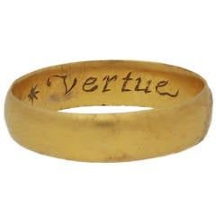 "17th Century Stuart gold posy Band ring ""Vertue passeth riches"""