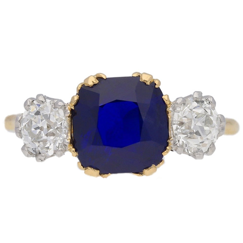Natural Burmese Royal Blue Sapphire Diamond Gold Platinum Three-Stone Ring