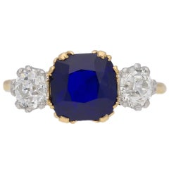 Natural Burmese Royal Blue Sapphire Diamond Gold Platinum Three-Stone Ring